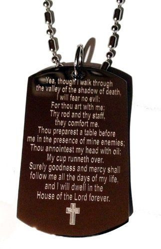 Psalm 23:4 'I Walk Throught the Valley of the Shadow of Death Christ Christian Logo Symbols - Military Dog Tag Luggage Tag Key Chain Keychain Metal Chain Necklace