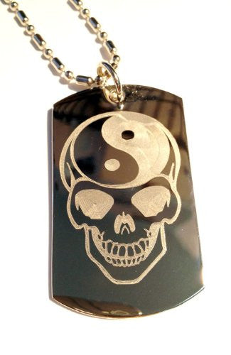 Sugar Skull Yin Yang Brain Tattoo Face Logo Symbols - Military Dog Tag Luggage Tag Key Chain Metal Chain Necklace