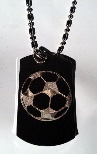 Soccer Ball Goal Sports Logo Symbols - Military Dog Tag Luggage Tag Key Chain Metal Chain Necklace
