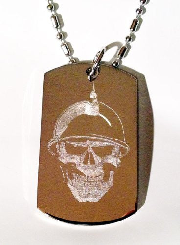 Soldier Skull Helmet Biker Logo Symbols - Military Dog Tag Luggage Tag Key Chain Metal Chain Necklace