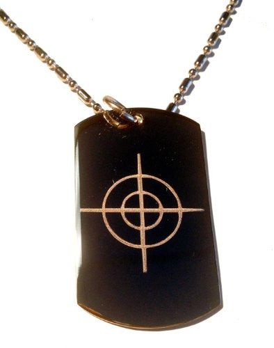 Target Bullseye Gun Scope Hunt Hunting Logo Symbols - Military Dog Tag Luggage Tag Key Chain Metal Chain Necklace