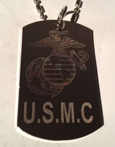 United States of America Marine Core USMC Logo - Military Dog Tag Luggage Tag Key Chain Metal Chain Necklace
