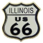 Metal Lapel Pin - Route 66 - Illinois Road Sign