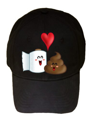 'Best Friends' Funny Toilet Paper & Poop in Love w/ Heart - Black 100% Cotton Adjustable Cap Hat