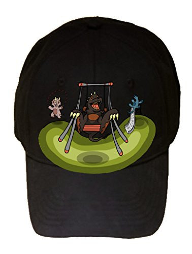 'Dino Park' Funny Dinosaur on Swing at Playground - 100% Cotton Adjustable Hat