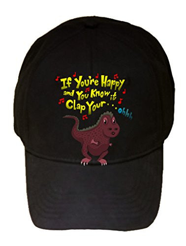 'If You're Happy..Can't Clap' Tyrannosaurus Rex Small Arms Humor - 100% Cotton Adjustable Hat