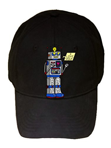 '80's Love Robot' Funny Cute Vintage Robot w/ Feelings - 100% Cotton Adjustable Hat