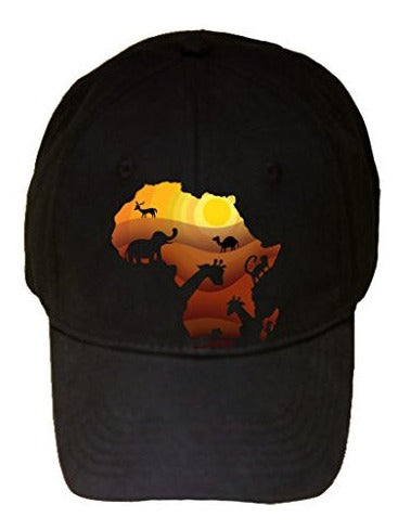 'African Animals' Sahara Bush Wildlife - 100% Cotton Adjustable Hat