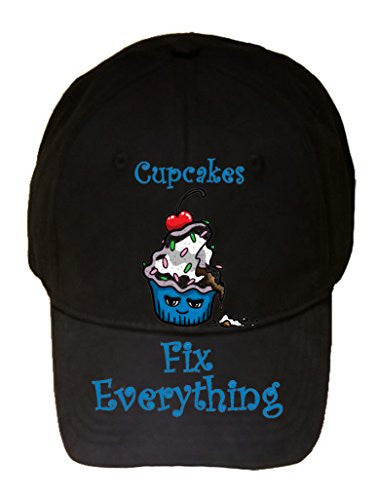 'Cupcakes Fix Everything' Food Humor Cartoon - 100% Cotton Adjustable Hat