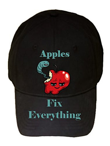 'Apples Fix Everything' Food Humor Cartoon - 100% Cotton Adjustable Hat