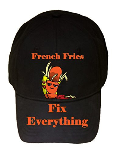 'French Fries Fix Everything' Food Humor Cartoon - 100% Cotton Adjustable Hat