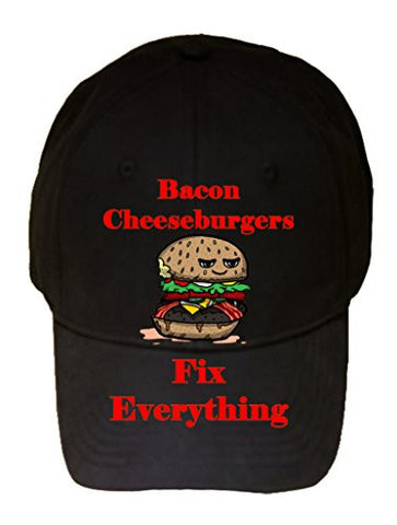 'Bacon Cheeseburgers Fix Everything' Food Humor Cartoon - 100% Cotton Adjustable Hat