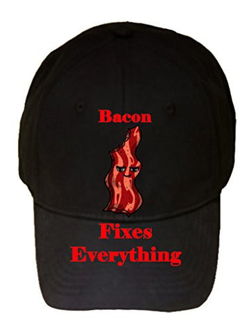 'Bacon Fixes Everything' Food Humor Cartoon - 100% Cotton Adjustable Hat