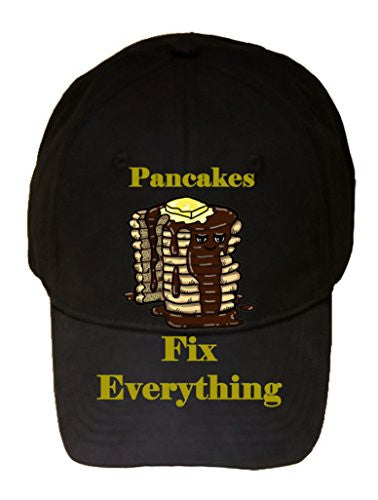 'Pancakes Fix Everything' Food Humor Cartoon - 100% Cotton Adjustable Hat