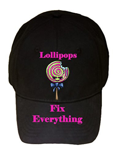 'Lollipops Fix Everything' Food Humor Cartoon - 100% Cotton Adjustable Hat