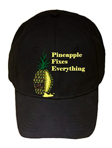 'Pineapple Fixes Everything' Food Humor Cartoon - 100% Cotton Adjustable Hat