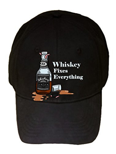 'Whiskey Fixes Everything' Food Humor Cartoon - 100% Cotton Adjustable Hat