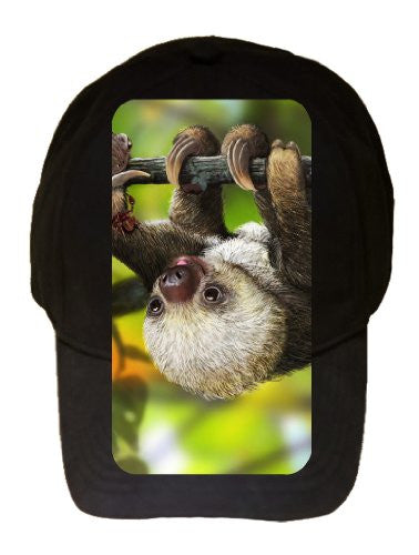 Sloth Animal Hanging Upside Down From Tree Branch Black Adjustable Cap Hat