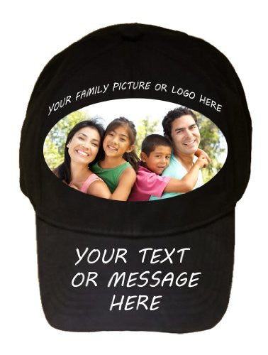 Custom Create Personalized Color Printed Black 100% Cotton Adjustable Cap Hat