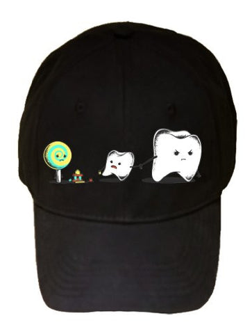 'Bad Friend' Teeth & Lollipop Funny Parody Logo - Black 100% Cotton Adjustable Cap Hat