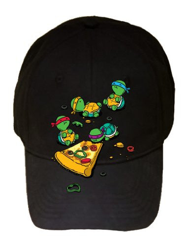 'Pizza Lover' TV Show Cartoon Movie Parody w/ Turtles Eating - Black 100% Cotton Adjustable Cap Hat