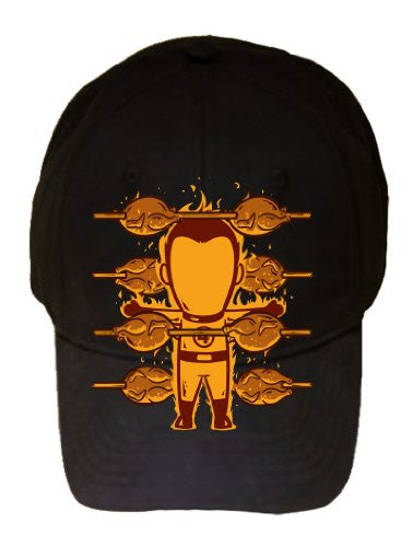 'Part-Time JOB Chicken Shop' Super Hero Roasting Chicken - Black 100% Cotton Adjustable Cap Hat