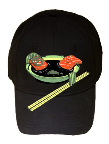 'Salmon Spa' Funny Cartoon Food Bathing in Soup w/ Chopsticks - 100% Adjustable Cap Hat