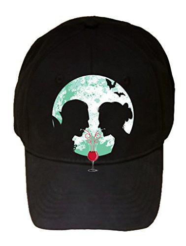 'Bloody Couple' Vampire Date Silhouettes w/ Moon & Bats - 100% Adjustable Cap Hat
