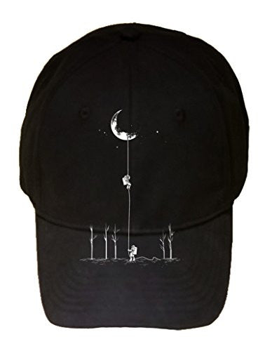 'Reach For The Moon' Astronauts Climbing Rope Into Space - 100% Adjustable Cap Hat