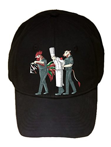 'Murder Chef' Funny Vegetarian Humor Chicken & Cow Police - 100% Adjustable Cap Hat