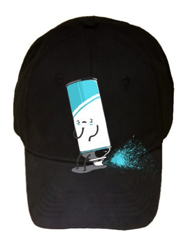 'Aerosoiled' Funny Aerosol Can Spraying Out Back End - 100% Adjustable Cap Hat