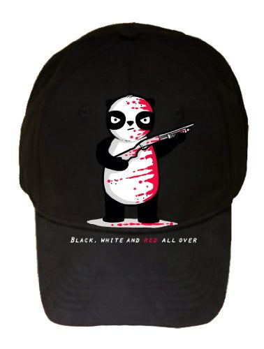 'Black, White & Red Panda Bear' w/ Shotgun Riddle Cartoon - 100% Adjustable Cap Hat