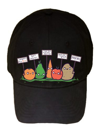'Protesting Vegans' Vegetables w/ Signs Against Vegans - 100% Adjustable Cap Hat
