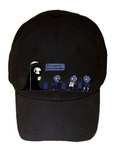 'Paperwork' Grim Reaper Complaining About Zombies - 100% Cotton Adjustable Cap Hat