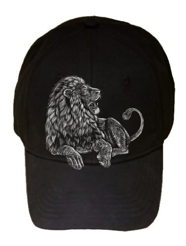 'Majestic Lion' Big Cat Jungle King Artwork - Black 100% Cotton Adjustable Cap Hat