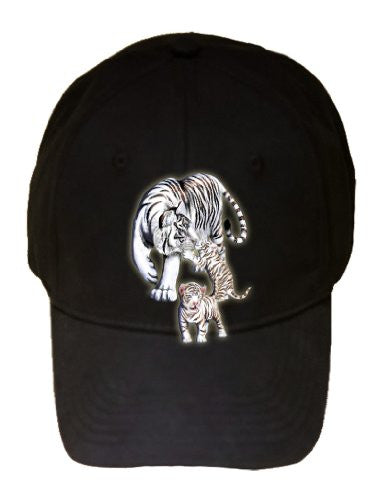 Big Cat White Tiger w/ Cubs in Mountains - Black 100% Cotton Adjustable Cap Hat