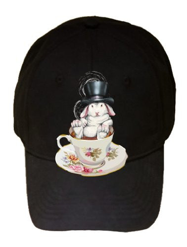 Rabbit Hole Funny Bunny in Teacup w/ Top Hat - Black 100% Cotton Adjustable Cap Hat