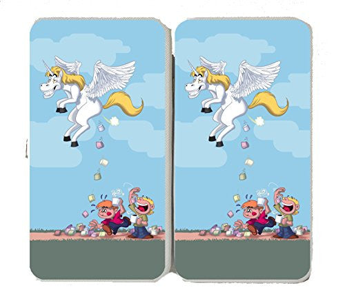 'Pegacorn Marshmallows' Funny Unicorn Cartoon Pooping Candy - Taiga Hinge Wallet Clutch