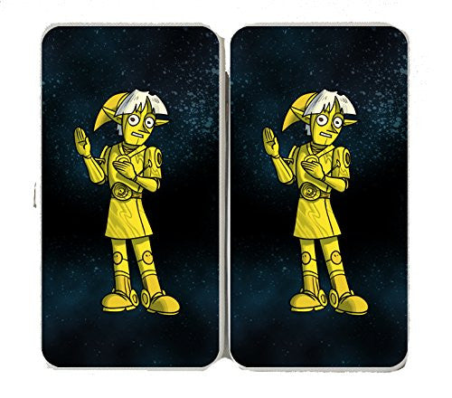 'Plumbing Wars' Shiny Robot Man Character Funny Video Game & Space Movie Parody - Taiga Hinge Wallet Clutch