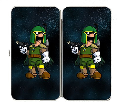 'Plumbing Wars' Bounty Hunter Villain Character Funny Video Game & Space Movie Parody - Taiga Hinge Wallet Clutch