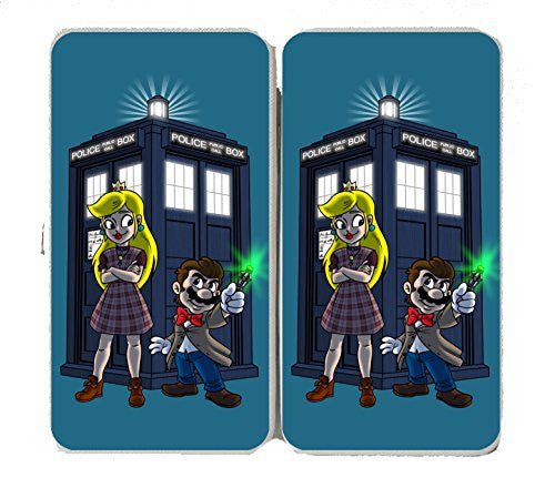 Character Group w/ Public Call Box Funny Video Game & Doctor Science Fiction TV Show Parody - Taiga Hinge Wallet Clutch