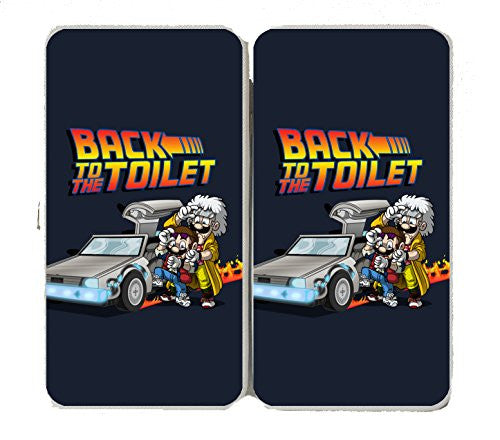 'Back To The Toilet' Funny Video Game & Movie Parody - Taiga Hinge Wallet Clutch