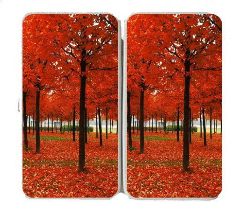 Fall Autumn Leaves RED Color Trees in the Park - Taiga Hinge Wallet Clutch