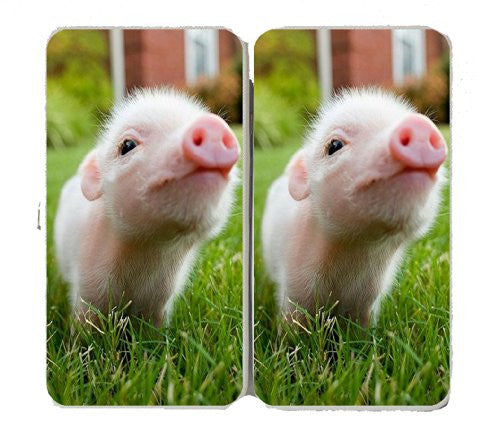 Cute Baby Pig Piglet Closeup in Grass - Taiga Hinge Wallet Clutch
