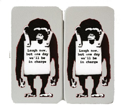 Monkey Laugh Now Logo - White Taiga Hinge Wallet Clutch