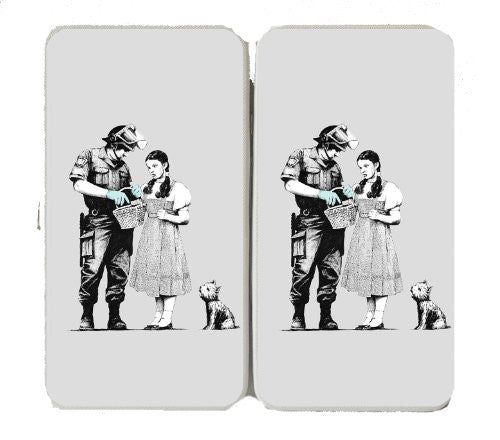 Girl with Dog and Basket Lost - White Taiga Hinge Wallet Clutch