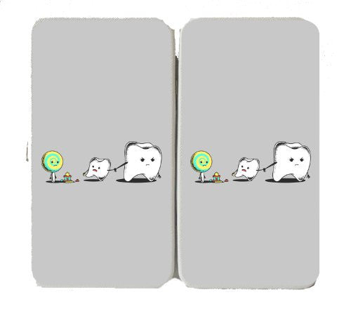 Funny Humor Tooth & Sucker Lolipop Candy 'Bad Friend' Dental Hygiene Parody - Taiga Hinge Wallet Clutch