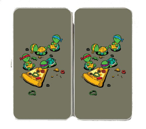 'Pizza Lover' TV Show Cartoon Movie w/ Turtles Eating Pizza - Taiga Hinge Wallet Clutch