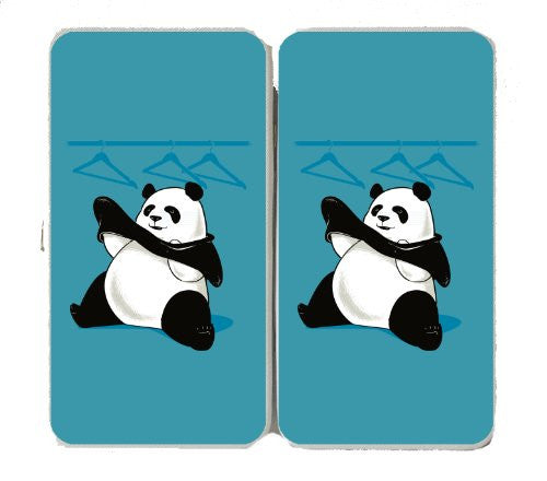'Outfit' Funny Panda Bear Putting On Clothes - Taiga Hinge Wallet Clutch