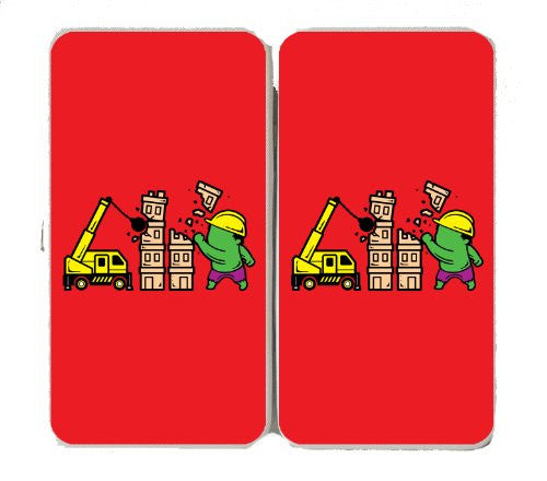 'Part-Time JOB Construction' Super Hero Demolishing Building - Taiga Hinge Wallet Clutch